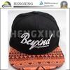 OEM 5/6 panel cap /snake skin cap/ real black leather snapback cap & hat with custom 3D embroidery logo cap