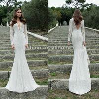 Latest Design Long Sleeve V-neckline Lace Beaded Mermaid Designer Bridal Dress Patterns