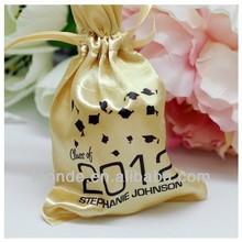 High quality fasionable golden custom-made drawstring satin gift bags