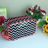 Zigzag Chevron Pattern Cosmetic Case Nylon Coated PVC Wash Bag