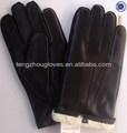 2014 nueva colección de la piel de oveja guantes de cuero para los hombres de conejo con forro de piel