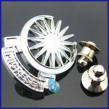 Zinc alloy company logo pin badges/silver metal logo lapel pins souvenir