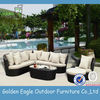 fresh style rattan outdoor garden wicker leisure sofa furniture set with comfortable pillows