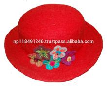 Handmade Felt Hat with Flower