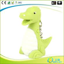 SL03074 wholesale led sound dinosaurs kids toys blank plastic keyrings