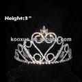 3 polegadas cristal strass tiaras de princesa da coroa