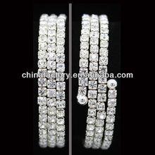 Popular Fashion 3rows Silver Clear Crystal Rhinestone Bracelet