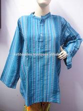 KTMK-7 Long Sleeves Indian Cotton Kurtas For Men / Women Wholesale 50 pcs Standing Collar Handmade Cotton Kurtas From Jaipur