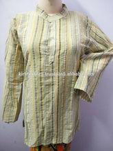 KTMK-8 Short Size Long Sleeves Indian Cotton Kurtas For Men / Women Elegant Standing Collar Handmade Cotton Kurtas From Jaipur