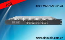 ac/dc converter 12 port 100m poe injector / poe splitter 1u rack mount