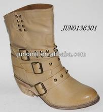 Best Selling Brush off PU Boots Women,Buckles Boots wood heel , Ladies Half Boots Camel