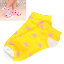 Rachel Yellow Dot Pattern Cotton Fashion Socks