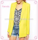 Fashion Neon Yellow Oversized Ladies Blazer Designs