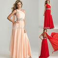 Et9632 charmoso um- linha um- ombro com watteau trem apliques chiffon longo grávida vestido de baile 2014