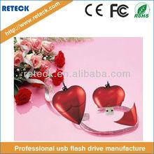 High Quality Popular Colorful Plastic Heart USB Flash Disk