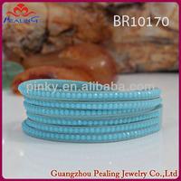 40cm china wholesale fashion bracelets hot jewelry trends 2014 light blue shining bling crystal rhinestone wrap bracelet