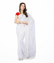 Plain White Colored Georgette Saree