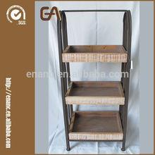3 tier Rectangular Decorative Wooden and Metal Flower Pot Stands