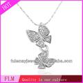 Moda diamante profundo amante duplo borboleta pingente colares de jóias china direto FPN183 para uso diário