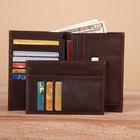 So Soft! Genuine Horse Leather Multifunctional Bi-Fold Wallet Zipper Coin Purse Two Passport Organizer