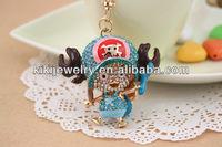 pirate theme blue crystal tony choppe keychain jewelry