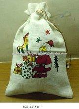 Screen Printed Jute Drawstring Gift Packaging Bag