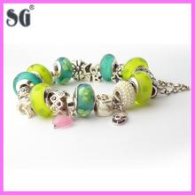 Fashion Beautiful European Style Blue Murano Glass Beads Charm Beaded Bracelet