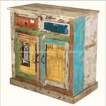 Vintage Reclaim Rustic Colorful Living Room Cabinet