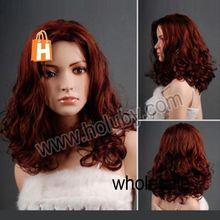 Elegant Women Fashion Kanekalon Fiber Medium Length Curly Wig Perfect Lady Wigs