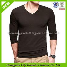Fitting Men's V neck Long Sleeve T shirt(lvt010038)