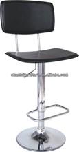 Barato modern quatro estrelas bancos de bar giratório / black leather chrome bar stool