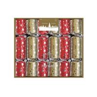 "Red and Gold Stars 6x8.5"" Mini Luxury Christmas Cracker"