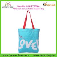 Wholesale printed cotton tote handbag Aqua blue canvas fabric shopper bag
