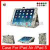 Free Shipping Folio Leather Auto Wake Sleep Smart Cover Case in Digital Camo For Ipad Air 9.7''