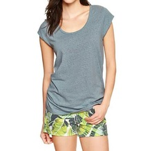 womens poly cotton blended blank scoop neck t shirt