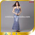 2014 sexy halter lantejoulas frisado longo de roupas moda da tailândia