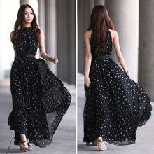 Women Loose Sexy Chiffon Polka Dots Maxi Long Beach Party Evening Dress Black