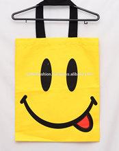2014 canvas tote bags designer canvas tote bags happy yellow canvas cotton tote bag