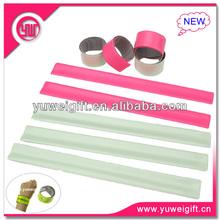 Best Selling custom blank slap bracelet/Plastic reflective safety blank slap wrap bracelet for promotion