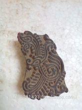 vecchio intagliato a mano bella pavone piuma modello tessile di legno timbro di stampa