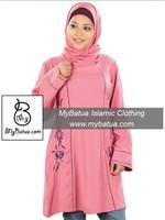 Casual & Occasion Wear Pink Rayon Tunic, Wholesale Muslim Women's Blouse, Islamic Clothing Top, Long kurti KRF-107
