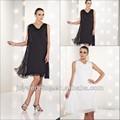 ocasiões sociais pela silhueta reta preto cor marfim mini curta mãe vestidos chiffon 2014