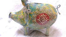 Indian antique beautiful iron green piggy bank.