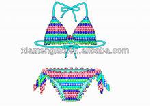 Aop women bikini swimming wear tie bikini