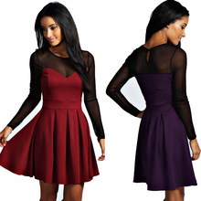New chin mesh sweetheart neckline with a keyhole detail button to the reverse fashion dress