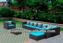 Beautiful Handmade Rattan Patio Furniture Garden 6PC Outdoor Sectional Sofa Set With Blue Cushions