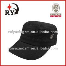 Alibaba website 2015 custom design black cotton military style man hat