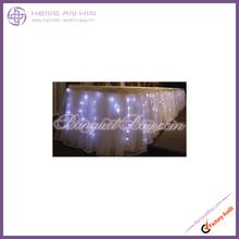 beautiful organza table skirtings/wedding table skirting led lights