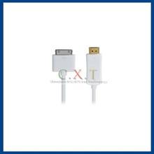 1 m Apple 30-Pin to USB LED Flashing Charging Data Flat Cable(White)