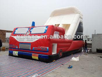 fire truck inflatable slide bouncer for kids